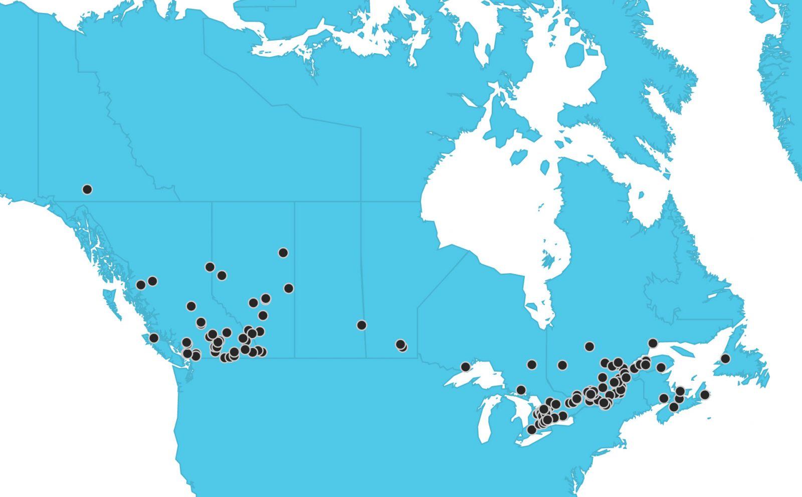 Map Of Canada Interactive.Find A Resort Canada Snowboard